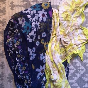 TWO FLORAL SCARVES